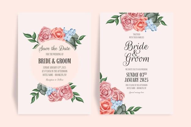 Hochzeitseinladung mit aquarellblumenmuster