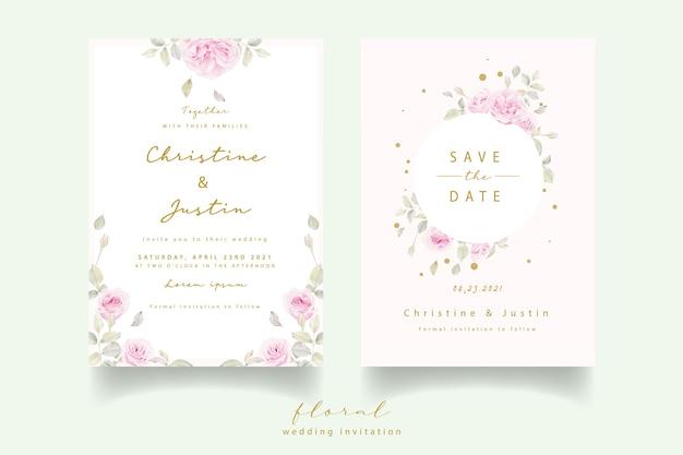 Hochzeitseinladung mit aquarellblumenrosen
