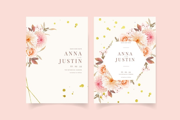 Hochzeitseinladung mit aquarelldahlien und rose