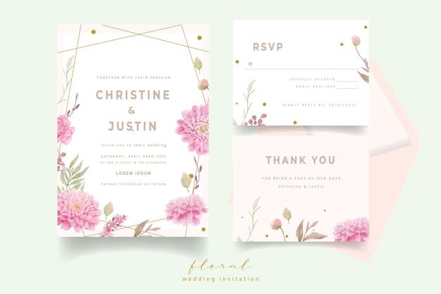 Hochzeitseinladung mit aquarelldahlienblumen