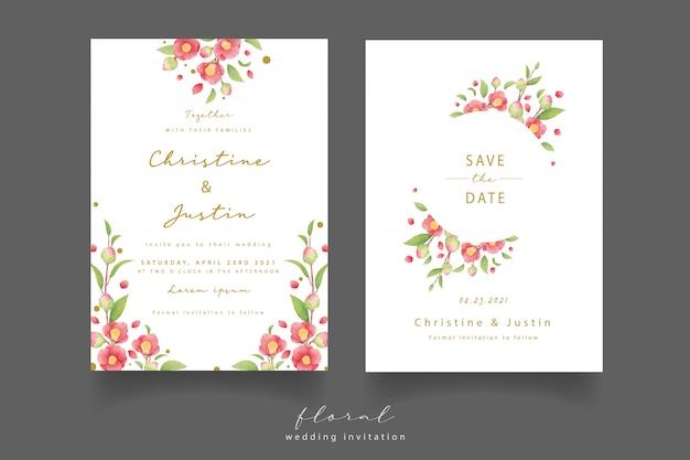 Hochzeitseinladung mit aquarellkamelienblumen