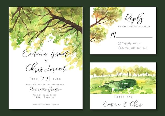 Hochzeitseinladung mit aquarelllandschaft der baumzweige und des grünen feldes