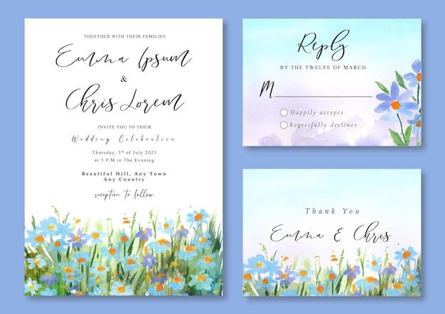 Hochzeitseinladung mit aquarelllandschaft der blauen wildblume und des grünen grasfeldes