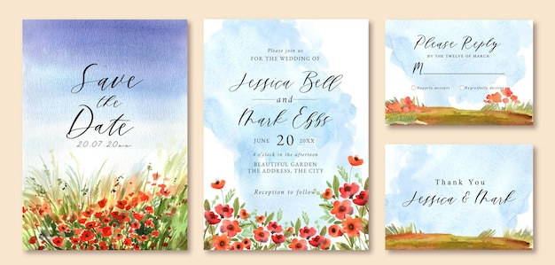 Hochzeitseinladung mit aquarelllandschaft des blumenfeldes