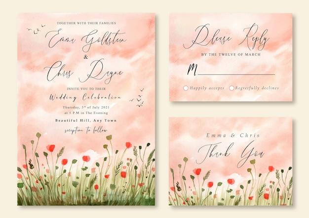 Hochzeitseinladung mit aquarelllandschaft des blumenmohnfeldes