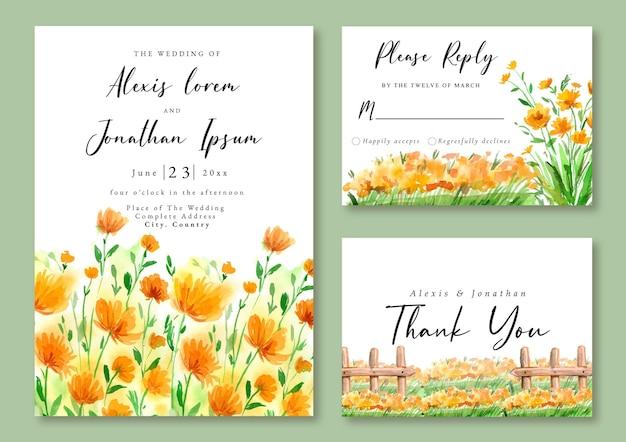 Hochzeitseinladung mit aquarelllandschaft des gelben blumenfeldes und des gartens
