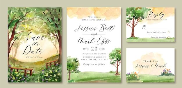 Hochzeitseinladung mit aquarelllandschaft des grünen feldes und der bäume