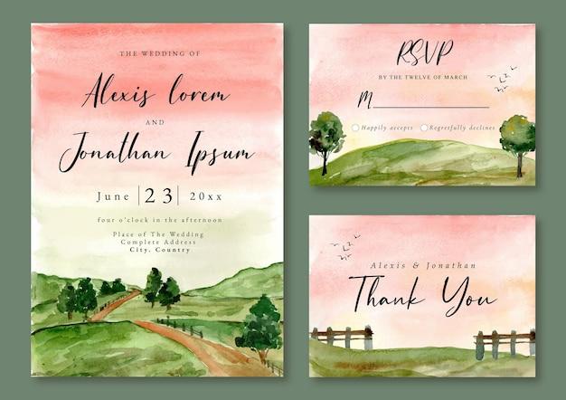 Hochzeitseinladung mit aquarelllandschaft des grünen feldes und des baumes