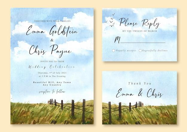 Hochzeitseinladung mit aquarelllandschaft des grünen feldes und des blauen sonnigen himmels