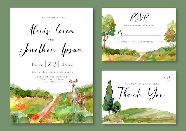 Hochzeitseinladung mit aquarelllandschaft des grünen feldes und des hirsches