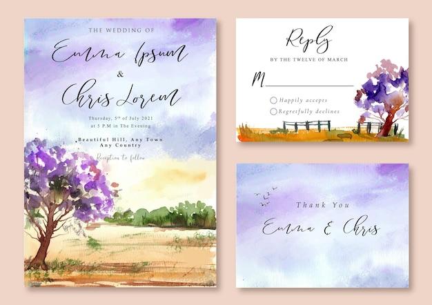 Hochzeitseinladung mit aquarelllandschaft des lila baumes und des lila himmels