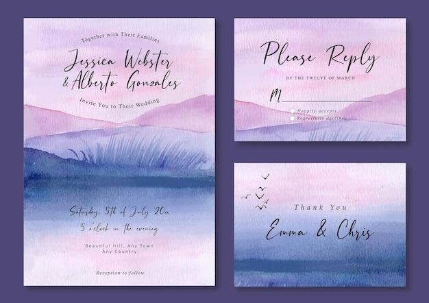 Hochzeitseinladung mit aquarelllandschaft des lila nebligen sees