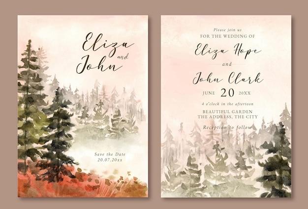 Hochzeitseinladung mit aquarelllandschaft des nebligen kiefernwaldes