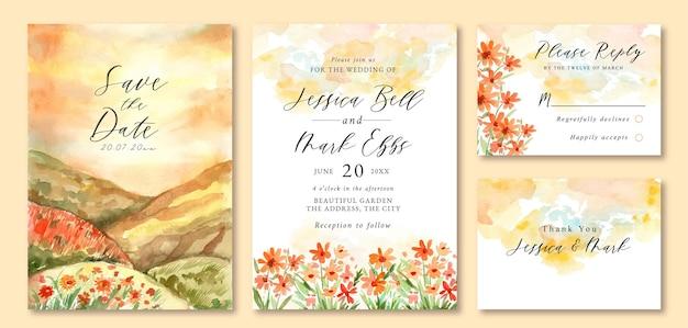 Hochzeitseinladung mit aquarelllandschaft des schönen sonnenuntergangsorangenblumenfeldes