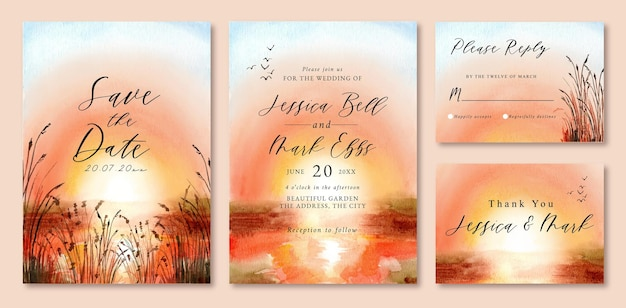 Hochzeitseinladung mit aquarelllandschaft des sonnenuntergangs im see