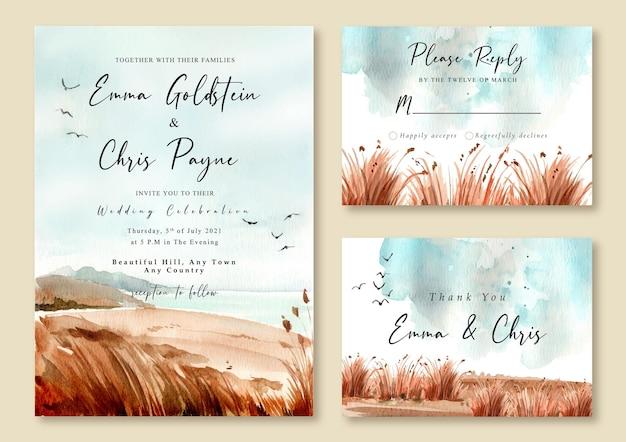 Hochzeitseinladung mit aquarelllandschaft des strandes und des blauen himmels