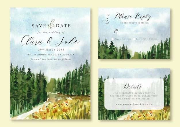Hochzeitseinladung mit aquarelllandschaft von kiefernwald und fluss