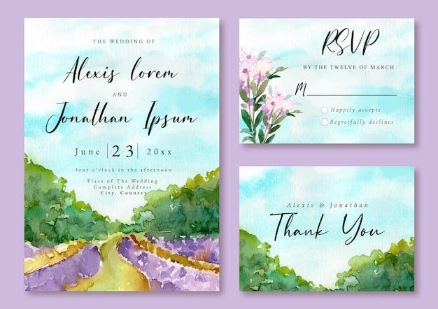 Hochzeitseinladung mit aquarelllandschaft von lavendelfeld und wald
