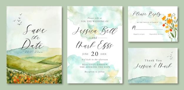 Hochzeitseinladung mit aquarelllandschaft