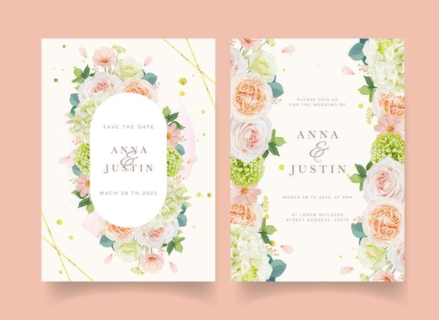 Hochzeitseinladung mit aquarellpfirsichrosen und hortensienblüten