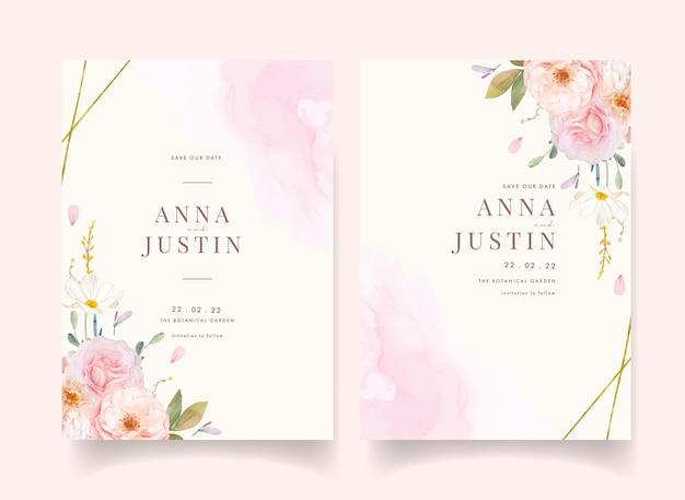Hochzeitseinladung mit aquarellrosa rosen und dahlie