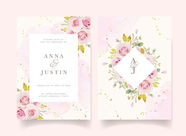 Hochzeitseinladung mit aquarellrosa rosen und goldverzierung