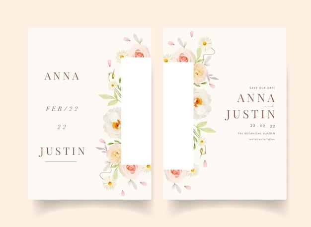 Hochzeitseinladung mit aquarellrosa rosen und weißer pfingstrose