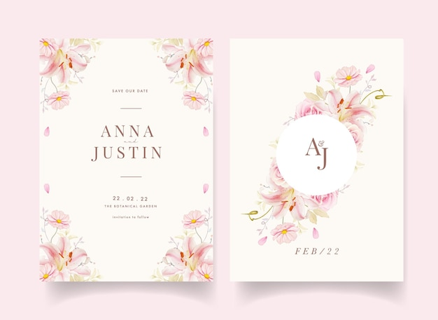 Hochzeitseinladung mit aquarellrosa rosenlilie und callalilie