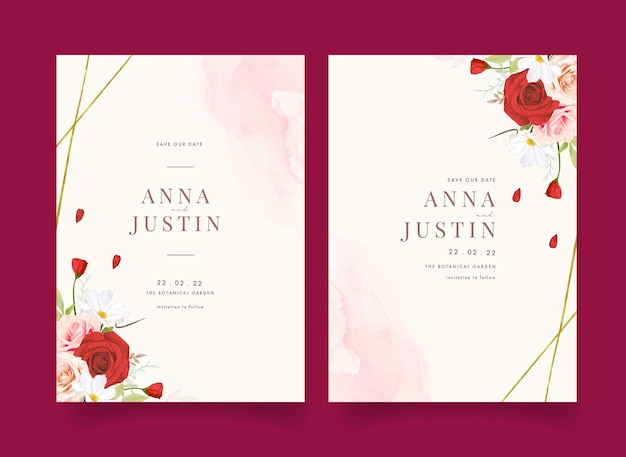 Hochzeitseinladung mit aquarellrosa und roten rosen