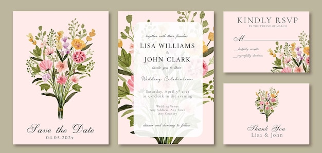 Hochzeitseinladung mit aquarellrosa wildblumenstrauß für frühling