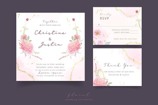 Hochzeitseinladung mit aquarellrosen, dahlien- und gerberablumen