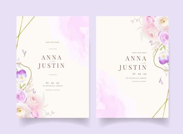 Hochzeitseinladung mit aquarellrosen ranunkel und stiefmütterchenblume