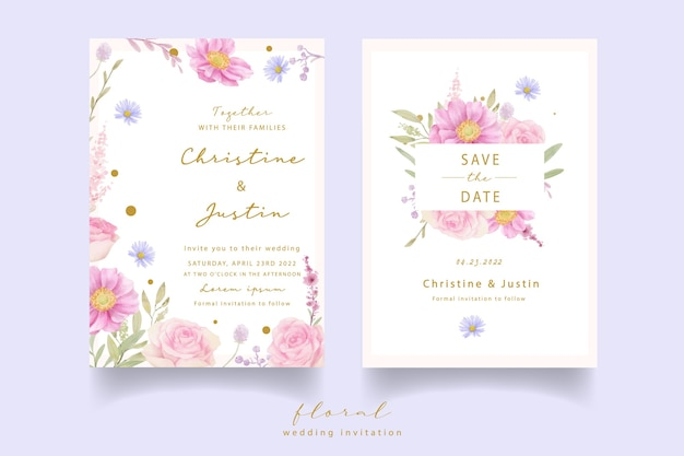 Hochzeitseinladung mit aquarellrosen und anemonenblumen