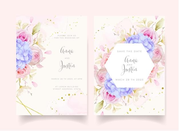 Hochzeitseinladung mit aquarellrosen und blauer hortensienblume