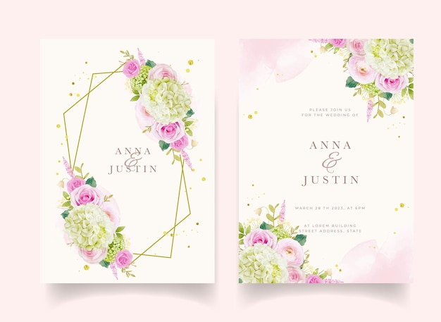 Hochzeitseinladung mit aquarellrosen und hortensien