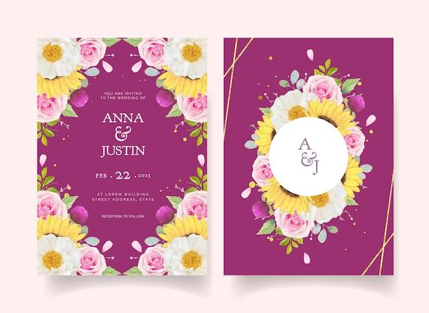 Hochzeitseinladung mit aquarellrosen und sonnenblumen