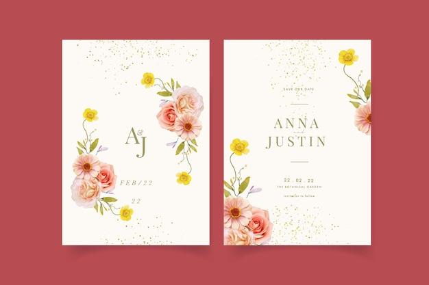 Hochzeitseinladung mit aquarellrosen und zinnie