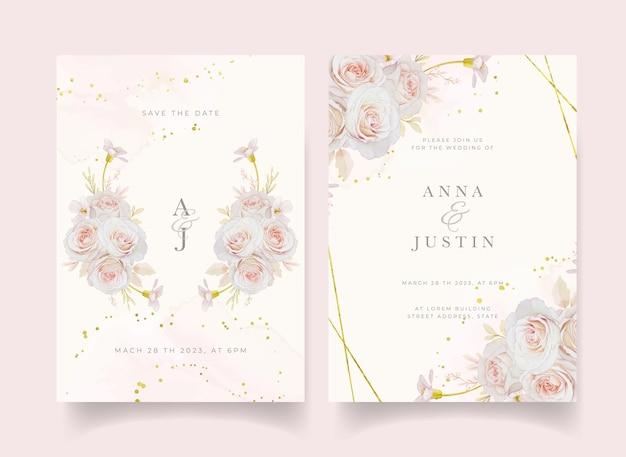 Hochzeitseinladung mit aquarellrosen