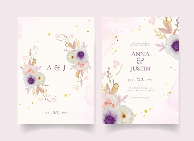 Hochzeitseinladung mit aquarellrosendahlie und anemonenblume