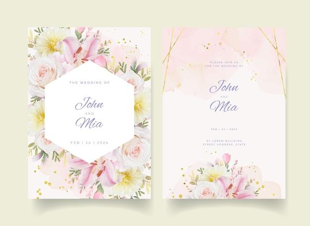 Hochzeitseinladung mit aquarellrosenlilie und dahlienblume