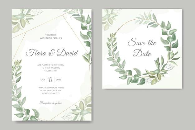 Hochzeitseinladung mit blättern und goldenem rahmen