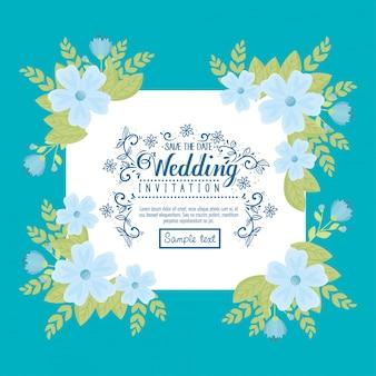 Hochzeitseinladung mit blauen blumen und blättern