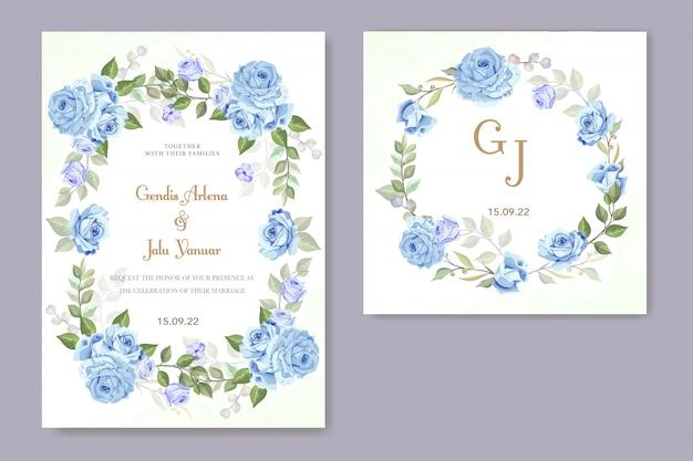 Hochzeitseinladung mit blauer rose