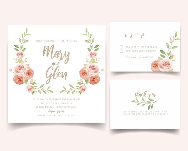 Hochzeitseinladung mit blumen mit blumengartenrosen