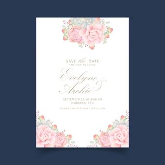 Hochzeitseinladung mit blumen mit sukkulenten