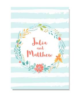 Hochzeitseinladung mit blumenkranz, blumen. vorlage für geburtstag, babyparty, menü, flyer, banner mit kalligraphie, danke und speichern sie die datumskarte.