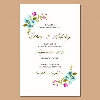 Hochzeitseinladung mit Blumenmusterrahmen