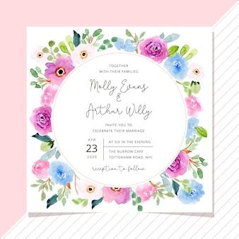 Hochzeitseinladung mit blumenrahmen des süßen aquarells