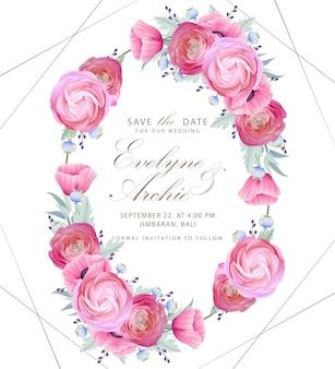 Hochzeitseinladung mit blumenranunculus- und mohnblumenblumen