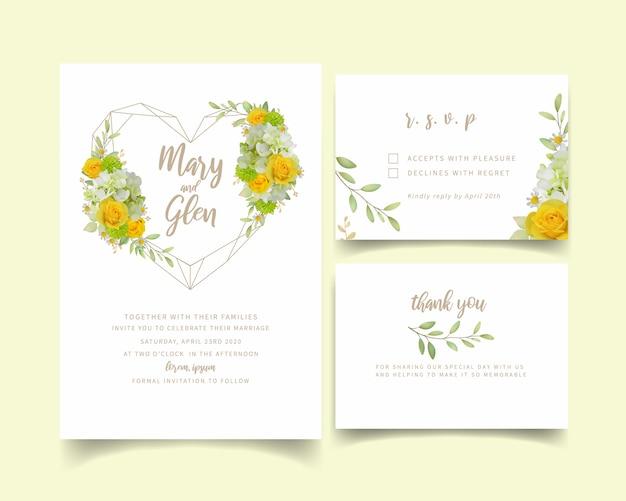 Hochzeitseinladung mit blumenrosen und hortensie